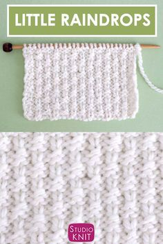 The Little Raindrops Stitch Knitting Pattern creates a reversible pattern of small vertical lines.This Repeat Knit Stitch Pattern is perfect to knit up a lightweight textured blanket. Knit Purl Stitches, Dishcloth Knitting Patterns, Knitting Stiches, Knit Dishcloth, Knitting Charts, Loom Knitting, Beginner Knitting, How To Purl Knit, Knitting Projects