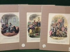 3x Antique Charles Dickens Martin Chuzzlewit Hand Coloured Book Illustrations