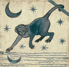 Monkey, a tile design by William de Morgan (1839-1917) features a mischievous monkey reaching for the reflection of the moon. ©Victoria and Albert Museum