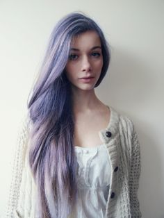 lace frilly top, cardigan, pretty, lilac hair
