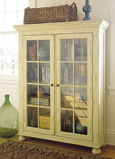 Trendy ideas for glass door cabinet decor paint Glass Front Cabinets, Glass Cabinet Doors, Cabinet Decor, Cabinet Design, Library Cabinet, Book Cabinet, Grey Cabinets, Cabinet Makeover, Cupboards