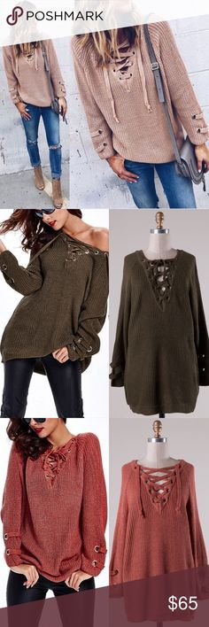 ALIA solid sweater tunic top - MARSALA Long sleeve solid sweater tunic with criss cross self-tying strap. THIS LISTING IS FOR MARSALA.   55% Cotton 45% Acrylic  AVAILABLE IN OLIVE & MARSALA. This listing is for MARSALA.   NO TRADE PRICE FIRM Bellanblue Tops Tees - Long Sleeve