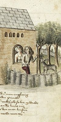 """Medieval supportive underwear- This is awesome! I was hoping for some analyses of the """"bra"""" found in Austria! This has some artwork that clearly depicts the """"lift and separate"""" that bras do, versus a corset/bodies. Does this mean that there were bras and then people moved to corsets/bodies and the back to bras? That's a funny concept!"""