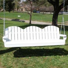 TMP Outdoor Furniture Adirondack 6ft. White Porch Swing