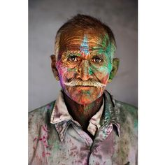 """""""A man covered in powder during Holi Festival in India.  #Holi #HoliFestival #powder #photooftheday"""""""