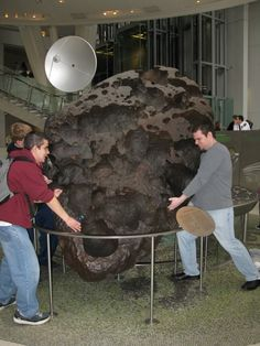 Willamette Meteorite. It weighs some 32,000 pounds. You can get an idea of its size from the two people in the picture. The meteorite is located in the Rose Center of the American Natural History Museum in New York City.  (Photo: GreenGimmick, Photobucket)