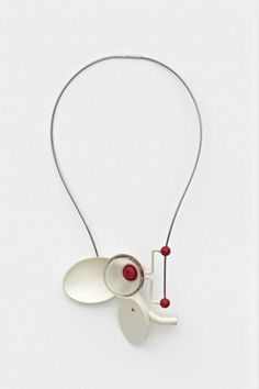 KATJA PRINS-NL necklace Inter-Act, 2012 | silver, reconstructed red and white coral, glass, steel | ± 45 x 10 x 2 cm
