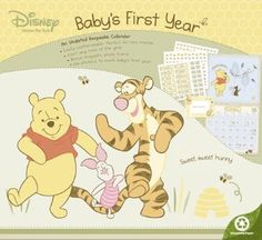 Amazon.com: Disney Winnie the Pooh Baby's First Year Undated Keepsake Calendar with Magnetic Photoframe and 261 Stickers: Home & Kitchen