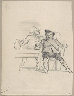 Two male figures seated at a table, drinking Artist: Félicien Rops (Belgian, Namur 1833–1898 Essonnes) Medium: graphite Dimensions: 7-3/4 x 5-7/8 in. (19.7 x 14.9 cm) Classification: Drawings Credit Line: Gift of Mrs. Albert Broccoli, 1980 Accession Number: 1980.1138.6