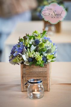Rustic & lace wedding floral centerpieces with tea-lights