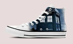Doctor Who Tardis HI-TOP White Unisex TRAINERS, shoes #costommade #FashionSneakers