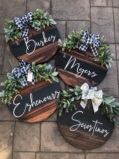 Custom Personalized Wood Wreath Sign on Mercari Front Door Signs, Front Door Decor, Wreaths For Front Door, Diy Projects To Try, Wood Projects, Beach House Style, Childrens Room, Helsingor, Wood Wreath