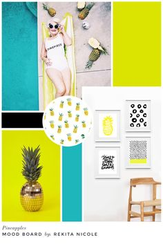 Mood Board: Pineapples sources: Dime Piece / BaddieWinkle, Pineapple Wallpaper / ModCloth, Gold Pineapple / FlavorWire, Pineapple Prints / Maiko Magao
