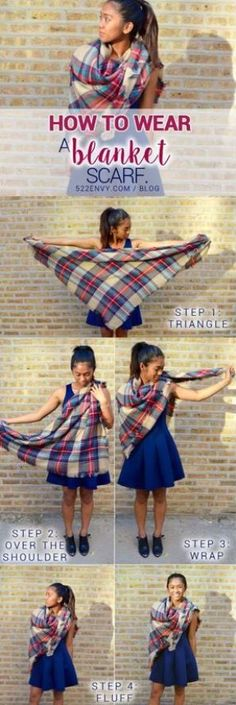 How to wear a blanket scarf: shoulder wrap edition! Check out other great ways to tie this plaid blanket scarf HERE! Blanket Scarf Outfit, How To Wear A Blanket Scarf, Diy Scarf, How To Wear Scarves, Tie Scarves, Scarf Outfits, Scarf Tying Blanket, Folding Scarves, Wearing Scarves