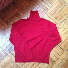 Talbots Turtleneck Sweater Red long sleeve turtleneck sweater. Ribbed bottom on sleeves and  hemline. Rayon and cotton blend. Size: Petite Medium. Talbots Sweaters Cowl & Turtlenecks