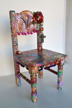 Dios Los Muertos Frida Kahlo Hispanic Home Decor Little Wooden Chair | Silla decoracion Frida Kahlo, dia de muertos.