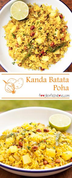 A very popular Maharashtrian breakfast - Kanda means onions in Marathi, Batata is potato and poha is Rice flakes/flattened rice. Flattened rice (also called beaten rice) is a dehusked rice which is flattened into flat light dry flakes.