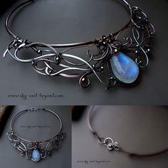 Moon Song - Fine Silver and Copper Necklace by rodicafrunze.deviantart.com on @DeviantArt