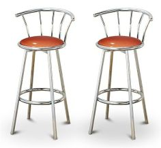 """2 Glitter Copper Vinyl Specialty / Custom Chrome Barstools with Backrest Set by The Furniture Cove. $154.88. Swivel Seat. Chrome Finish. Back Rest and Foot Rest. 24"""" Tall to Seat. Glitter Copper Vinyl Seat. These are new, 24"""" chrome bar stools with footrests and swivel seats with a backrest! These Feature Glitter Copper Vinyl seats that are cool and unique. The pads are 14"""" across and the seat is 24"""" tall. The entire height is 34"""". The sides of the seat have nice metal work and..."""