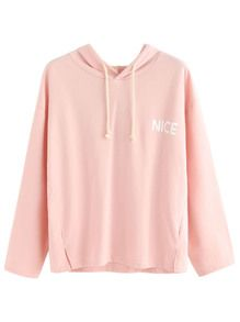 Pink Letter Print Drop Shoulder Drawstring Hooded Sweatshirt