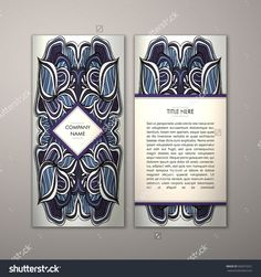 Flyer Template With Abstract Ornament Pattern. Vector Greeting Card Design. Front Page And Back Page. - 502073251 : Shutterstock