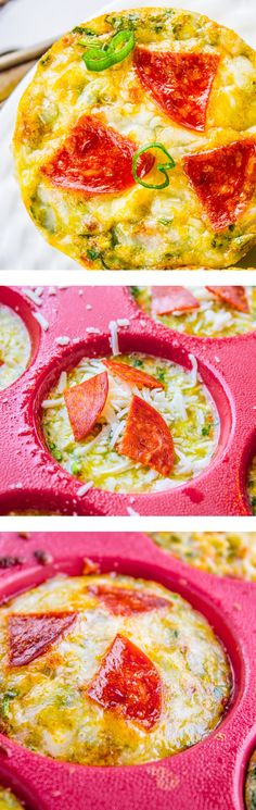 Pizza Egg Muffins Are Protein Packed, Stuffed With Veggies, And Taste Amazing. Make Ahead, Pop In The Freezer, And Microwave Them On Your Way Out The Door. Snappy and Easy Breakfast Recipe From The Food Charlatan. Quick And Easy Breakfast, Low Carb Breakfast, Best Breakfast, Quick Easy Meals, Breakfast Pizza, Easy Brunch Recipes, Good Healthy Recipes, Breakfast Recipes, Breakfast Ideas