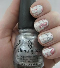Sally Hansen Love Always strips, but didn't have time to do a full mani, so I turned to my friend crack and added a layer of China Glaze Platinum Pieces. I finished with China Glaze Matte Magic topcoat