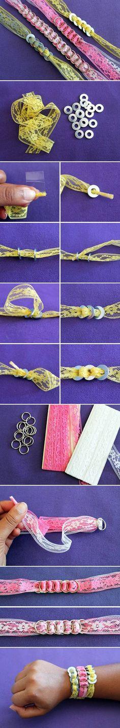 DIY Ring Lace Bracelet lace ring bracelet crafts diy diy bracelet diy jewelry craft bracelet crafty easy diy easy crafts craft ideas diy ideas jewelry diy diy tutorial ideas by Akashi Diy Crafts Jewelry, Bracelet Crafts, Kids Jewelry, Jewelry Making, Lace Ring, Lace Bracelet, Washer Bracelet, Hardware Jewelry, Lace Jewelry