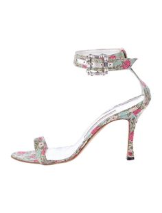 0711cdd7f1 Manolo Blahnik Chaos Floral Print Ankle Strap Heels Pumps Crystal Sz 8 5 38  5