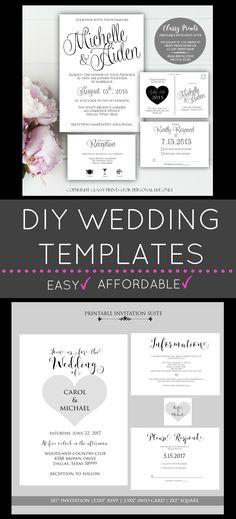 DIY Wedding Invitations, Printable Wedding Invitations, Wedding invitation templates & more!
