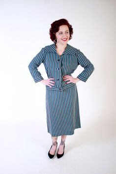 1950s Vintage Suit...Mid Century Turquoise and Black Striped Late 50s Jacket and Skirt Suit Set Size Medium