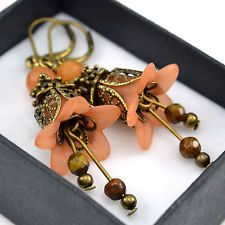 Vintage Style Bronze Orange Lucite Flower Brown Beaded Handmade Earrings