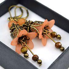 Vintage Style Bronze Orange Lucite Flower Brown Beaded Handmade Earrings