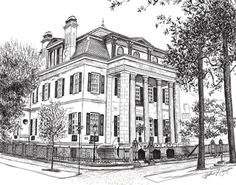 Pen and Ink Drawing of the Harper Fowlkes House in Savannah, Georgia by Heather L. Young