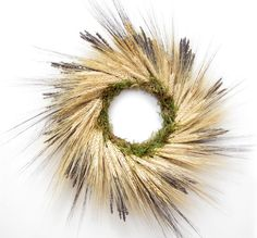 Gold Wheat Blue Lavender Dried Flower Wreath by dancingcircle