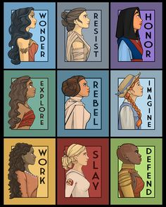 Wonder Woman Rey from Star Wars Mulan Moana Princess Leia Anne of Green Gables Angelica Schulyer from the musical Hamilton Buffy the Vampire Slayer Okoye from Black Panther Disney Memes, Disney Quotes, Funny Disney, Disney And Dreamworks, Disney Pixar, John Ross Bowie, Princesas Disney, Disney Art, Disney Songs