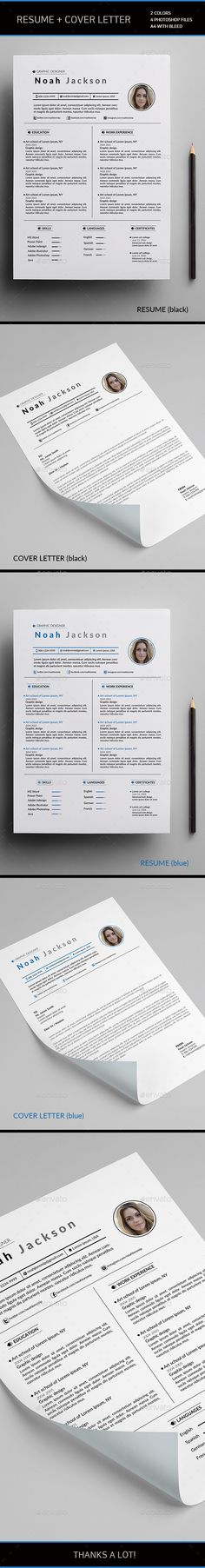 Resume by SOL_ILLUST Resume   Cover letter  2 colors (blue