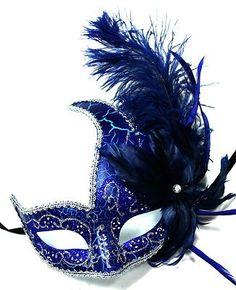 Blue Masquerade Ball Masks | Blue/silver feather masquerade ball party mask 6220