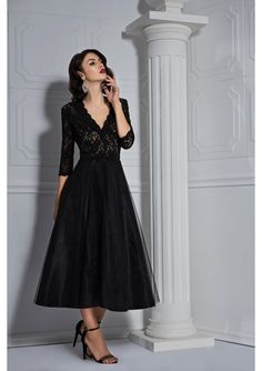 The black cocktail dress with lace bust and middle volume skirt will instantly win you. Silk lace, cleavage cut od the top and long sleeves tulle skirt are the desirable elements of this gorgeous dress. The waist of the dress has a velvet silk bow. The combination of bust colors with volume skirt is the ideal mix for a spectacular cocktail dress. Black Cocktail Dress, Cocktail Dresses, Evening Dresses, Formal Dresses, Lace Dress, Tulle, Silk, Celebrities, Long Sleeve