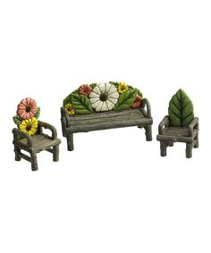 Look what I found on #zulily! Flower Couch & Chairs Decor Set #zulilyfinds