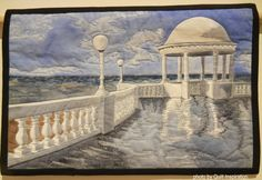 Sea Front at Bexhill-On-Sea by Stephanie Crawford.  Photo by Quilt Inspiration: 2016 International Invitational Quilt Exhibition - Part 2