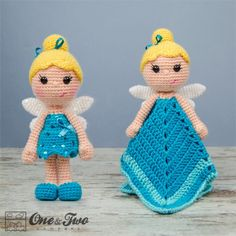 Ella the Fairy Lovey and Amigurumi Crochet Patterns by One and Two Company  #crochet #amigurumi #crochetpattern #fairy #crochetdoll