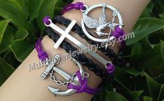 Charm bracelet, Friendship bracelet,Cross bracelet, antique silver cross bracelet, Infinity bracelet, anchor bracelet, leather bracelet by takenfcu