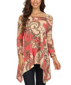 Look at this Pink & Tank Paisley Shoulder-Cutout Handkerchief Top - Women on #zulily today!