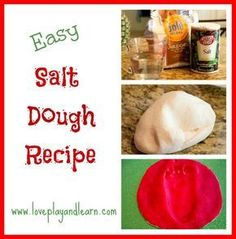 Salt Dough Recipe great for handprint and footprint ornaments Easy Salt Dough Recipe. Make homemade ornaments, hand-print or foot-print keepsakes, dinosaur fossils and much more! Salt Dough Crafts, Salt Dough Ornaments, Homemade Ornaments, Homemade Gifts, Diy Ornaments, Salt Dough Handprint Ornaments Recipe, Christmas Ornaments, Christmas Presents, Christmas Crafts For Kids