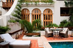 Casa San Agustín | Casa San Agustín is a hotel located in the UNESCO World Heritage town of Cartagena de Indias, in Colombia. Its three buildings are constructed in the Colonial style, with white-washed walls and rich wood-beamed ceilings.