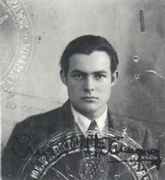 Ernest Hemingway- an early passport photo of Hemingway, taken in the early 1920s.
