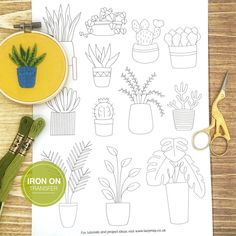 House Plants and Cactus Embroidery Transfer Patterns, Modern Hand Embroidery Design, Plant Botanical Iron On Embroidery Pattern Set Cactus Embroidery, Iron On Embroidery, Simple Embroidery, Embroidery Transfers, Embroidery Patterns Free, Modern Embroidery, Embroidery For Beginners, Hand Embroidery Designs, Embroidery Supplies