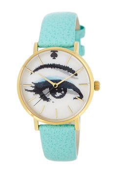 women's metro holographic leather strap watch