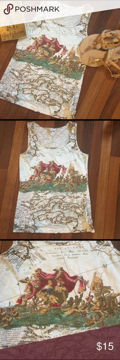 """CAbi Map Tank Top Size M Tank top by CAbi with unique map pattern on back and front .  Love this tank ! Has a little stretch, cotton / spandex blend .  Gently used condition.  All measurements taken flat .  Size Medium measures shoulder to hem 24.5"""", armpit to armpit 15.5"""".  Bundle 2+ and Save 20% CAbi Tops Tank Tops"""
